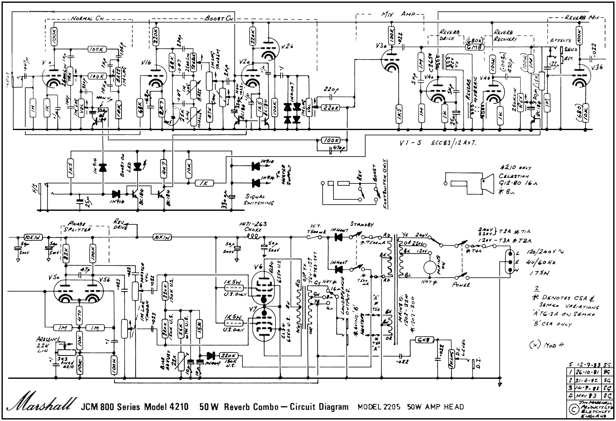 marshall JCM800_4210_Schem guitar amplifier schematics guitar nucleus Marshall 2204 Kit at bakdesigns.co