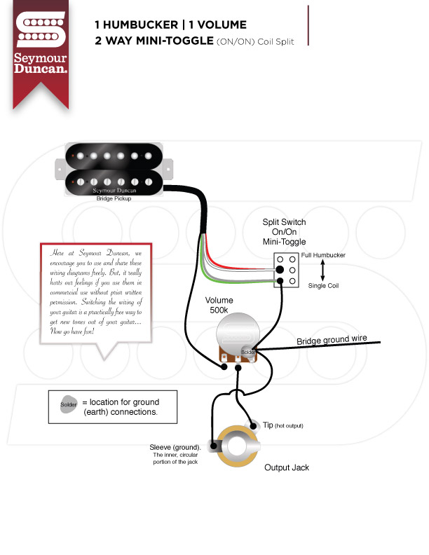 SeymourDuncan_1H_1V_mtSPL  Humbucker Volume Tone Wiring Diagrams on gibson sg, 1 single coil guitar pick up, pickups series,